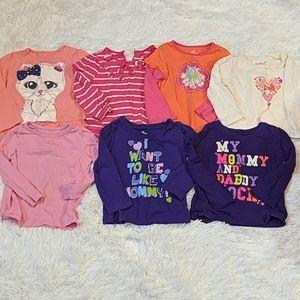 Lot of 7 Baby Girl Long Sleeve Tops